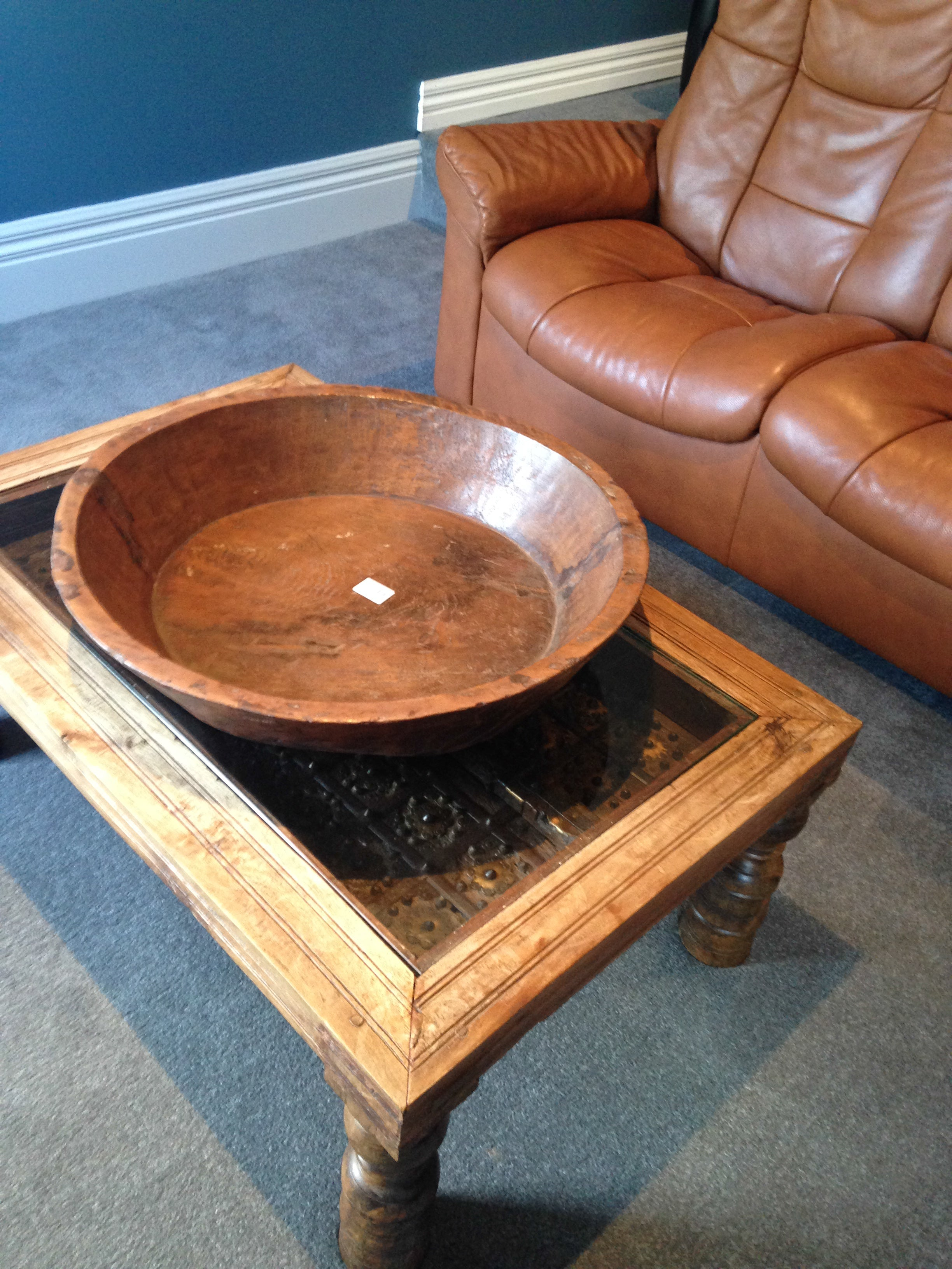Extra Large Old Wooden Nepalese Basin in Fruitwood - Tilly and Tiffen