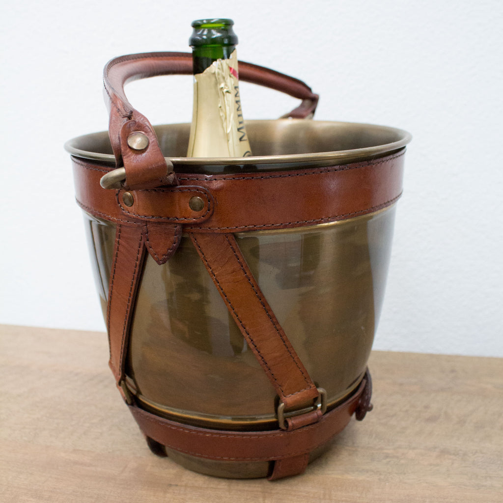 Brass & Leather Wine Bucket - Tilly and Tiffen