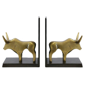 Bull Bookends in Brass Finish - Tilly and Tiffen