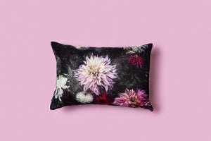 PETITE DAHLIA DREAM // THE DARKNESS - SILK VELVET CUSHION - Tilly and Tiffen