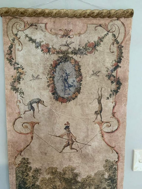 Antique European Wallpaper Wall Hanger
