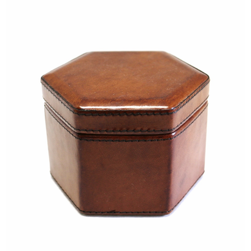 Leather Hexangonal Watch/Trinket Box - Tan - Tilly and Tiffen