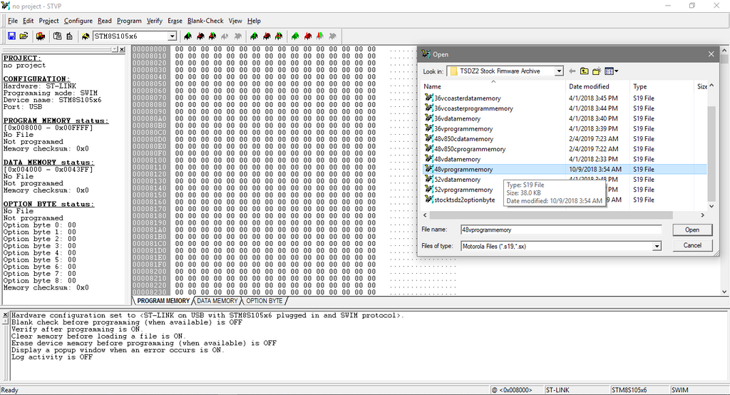 Open the desired STF 'Program Memory' .s19 file - you will see the values on the screen populate