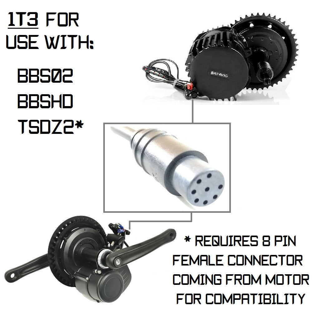 1T3 Cable (w/ 8 Pin Male) for use with TSDZ2 (w/ 8 Pin Female) and all Bafang BBS Motors