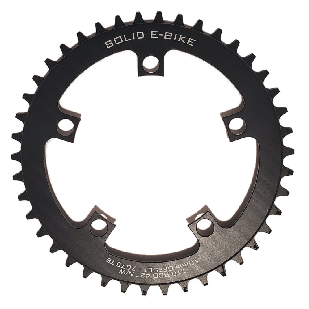 42T Chainring for TSDZ2 - Narrow Wide - 10mm Offset - 110 BCD (Solid E-bike)