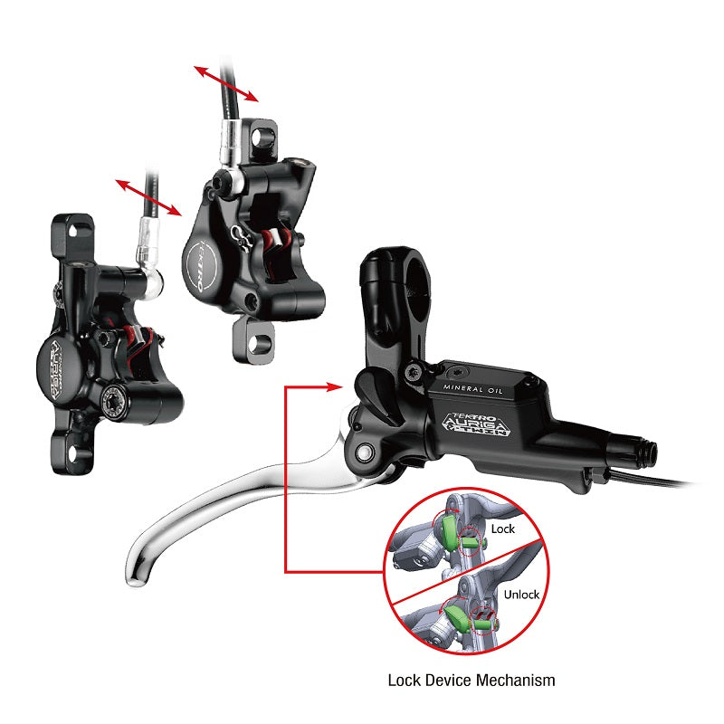Tektro AURiGA e-TWIN HD-E525 - Single Lever / Dual Caliper - Hydraulic e-Brakes (uses 1.8mm Rotors)