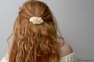 Big Yellow and white Seashell Hair Barrette