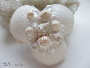 Beautiful Seahsell Hair Barrette with Seashells and Glitter