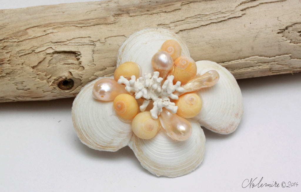Yellow Coral and Freshwater Pearl Hair Barrette