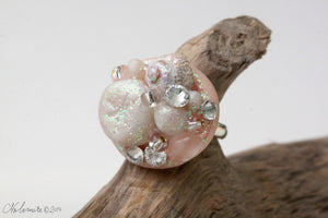 Sea Shell ring with Swarovski crystals