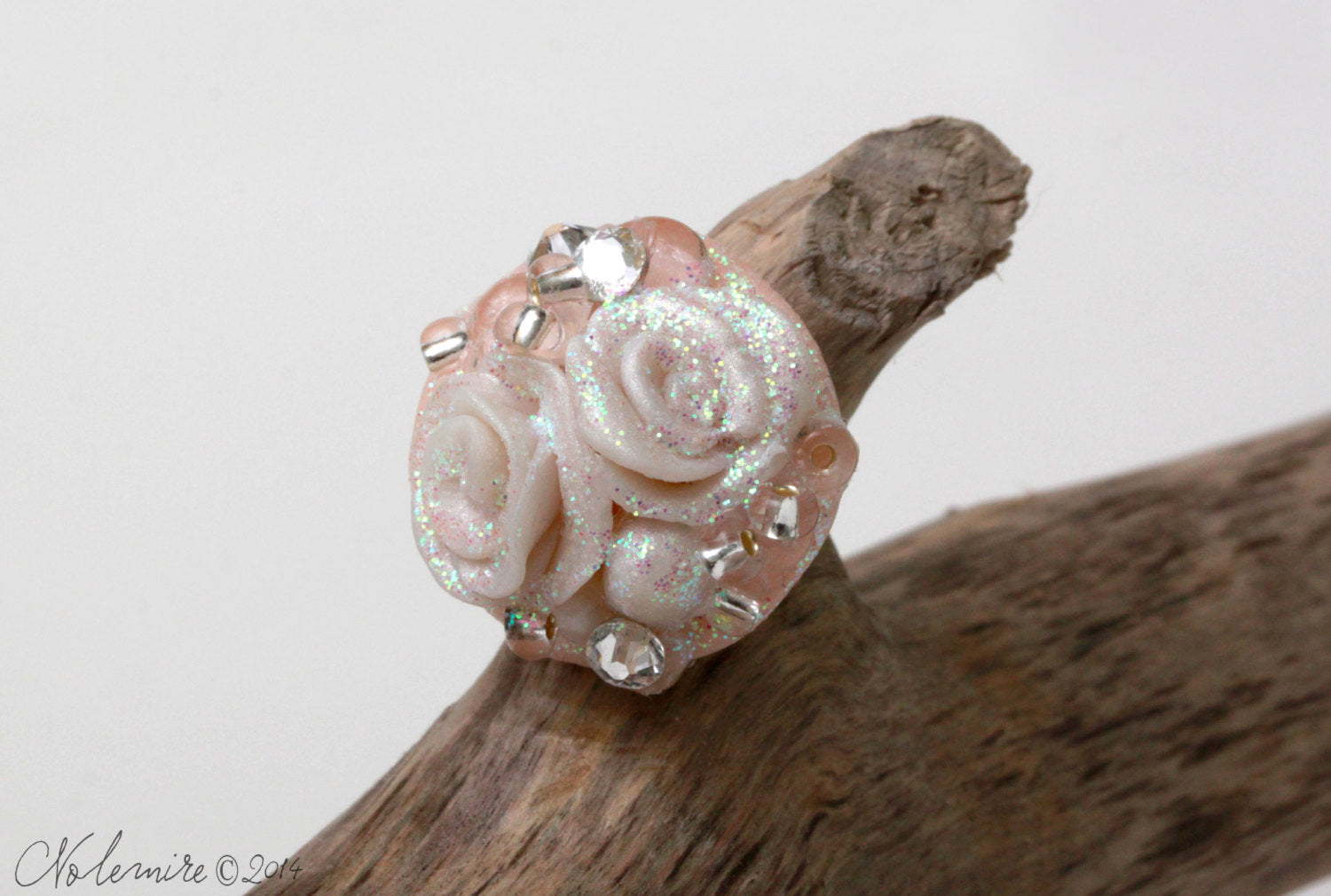 Ring with Hand Scuplted Roses and Swarovski Rhinestones