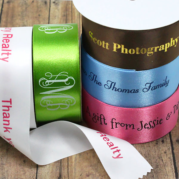 "Personalized Satin Ribbon 1 1/2"" - 10 Colors"