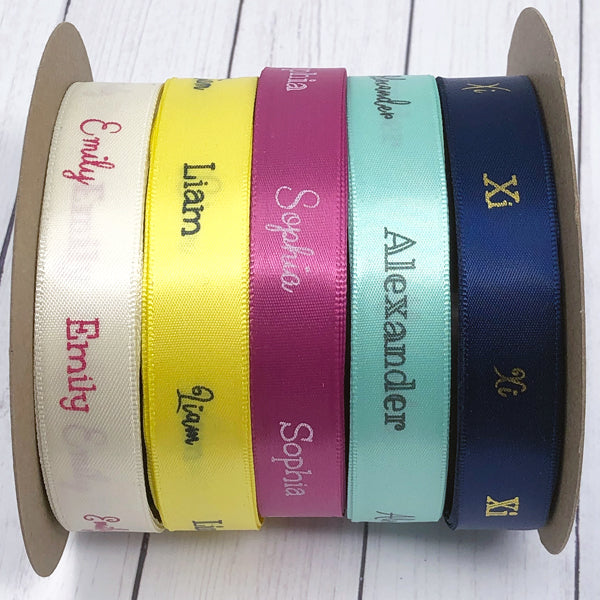 "5/8"" Personalized Satin Name Ribbon"