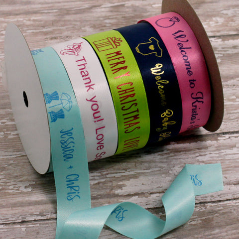 "Personalized Satin Icon Ribbon 7/8"" - 36 Colors"