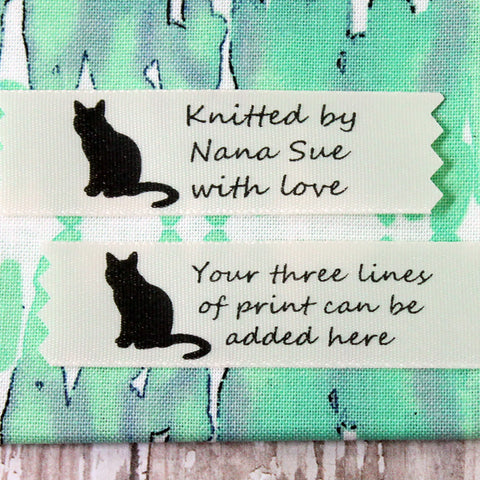 Silhouette Cat Creme Satin Label