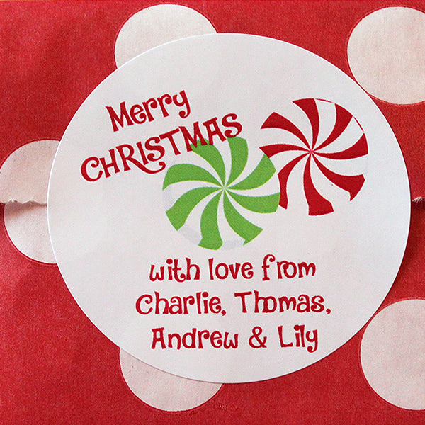 Xmas Peppermint Gift Stickers
