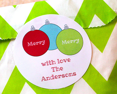 Merry Ornaments Gift Stickers