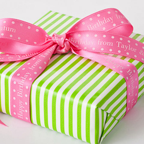 "5/8"" Pink & White Polka Dot Satin Ribbon"
