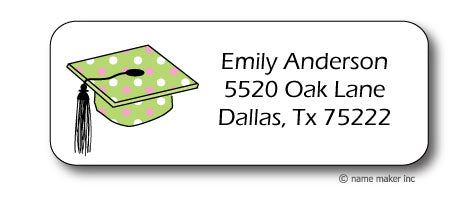 Polka Dot Grad Cap Address Stickers
