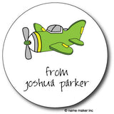 Round Airplane Gift Stickers