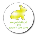 Round Gingham Bunny Gift Stickers (Available in 4 Colors)