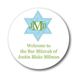 Round Bar Mitzvah Monogram Sticker