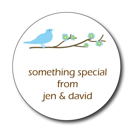 Round Blue Bird Gift Stickers