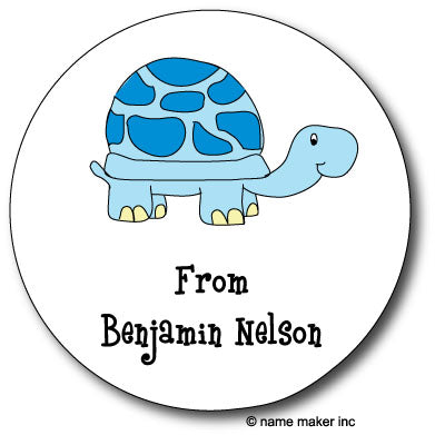 Round Blue Turtle Gift Stickers