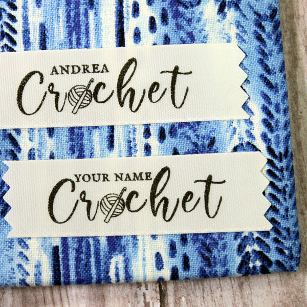 Crochet with Name Creme Satin Label