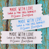 Made with Love+ Cuss Words Humor Satin Label