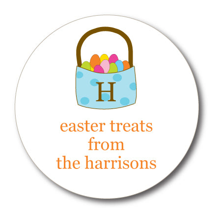 Round Monogrammed Easter Basket Gift Stickers