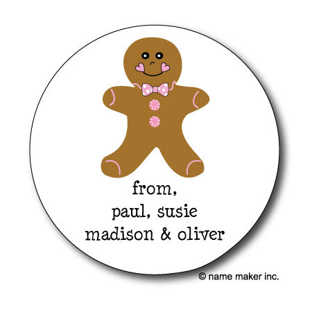 Gingerbread Man Gift Stickers