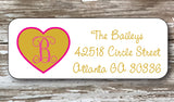 Gold Heart Address Stickers