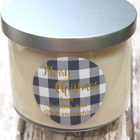 Grey Plaid Gift Stickers