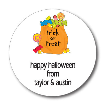 Round Halloween Candy Gift Stickers