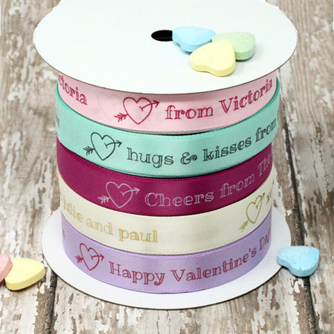 "Valentine 5/8"" Personalized Heart Ribbon"