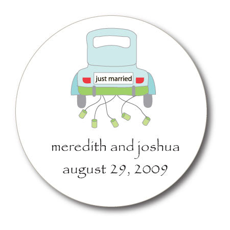 Round Just Married Gift Stickers