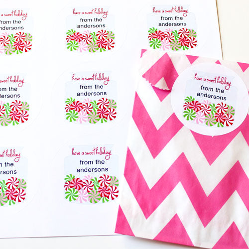 Peppermint Candy  Gift Stickers