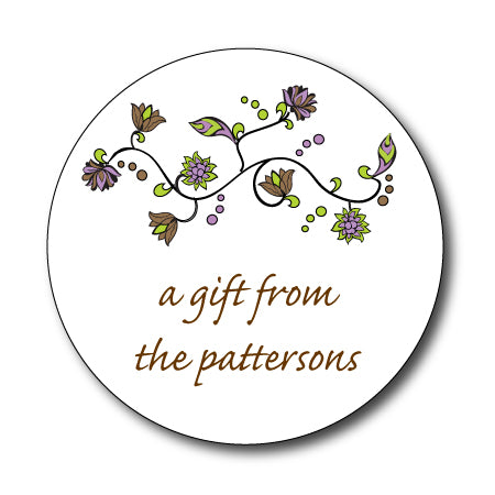 Round Floral Lavender Gift Stickers