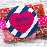 Navy Stripe Valentine Gift Stickers