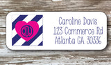 Preppy Monogram Address Stickers