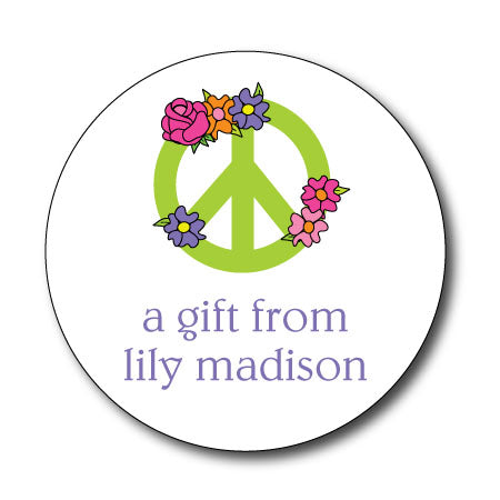 Round Peace Flower Gift Stickers