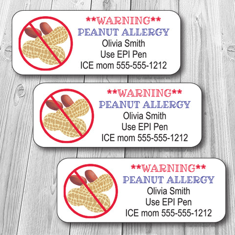 Peanuts Allergy Waterproof Label
