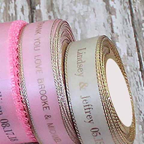 "5/8"" Pink with gold Metallic Edge Satin Ribbon"