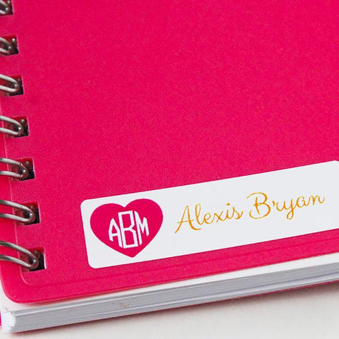 Pink Heart Monogram Mini Waterproof Sticker
