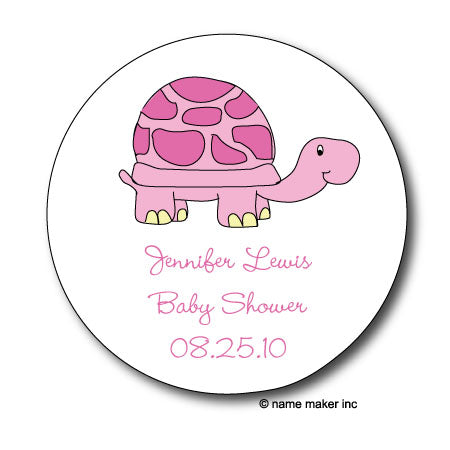 Round Pink Turtle Gift Stickers