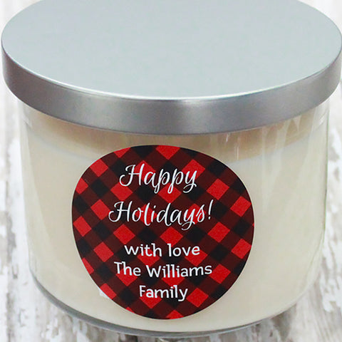 Happy Holidays Red Plaid Gift Stickers