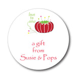 Round Pin Cushion Gift Stickers