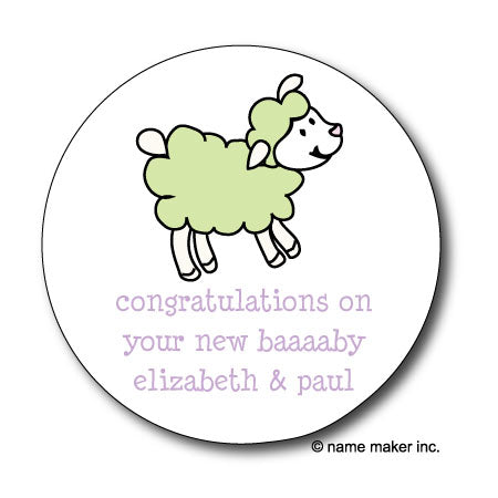 Round One Lamb Gift Stickers (Available in 4 Colors)
