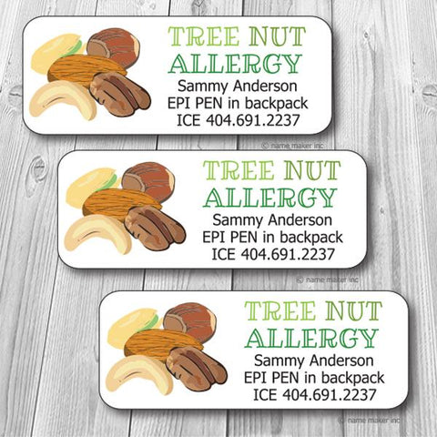 Tree Nut Allergy Waterproof Label